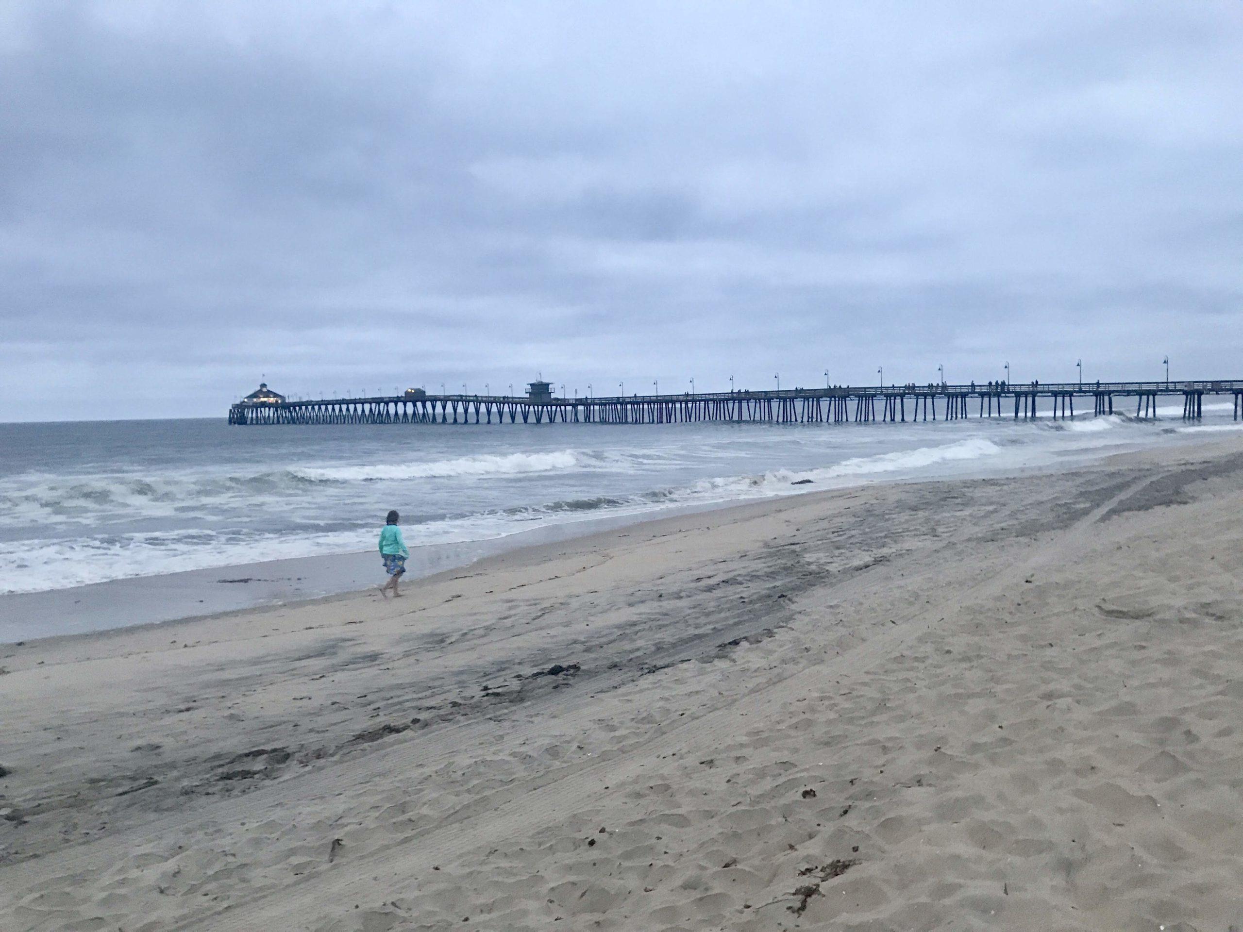 girl walks on a beach