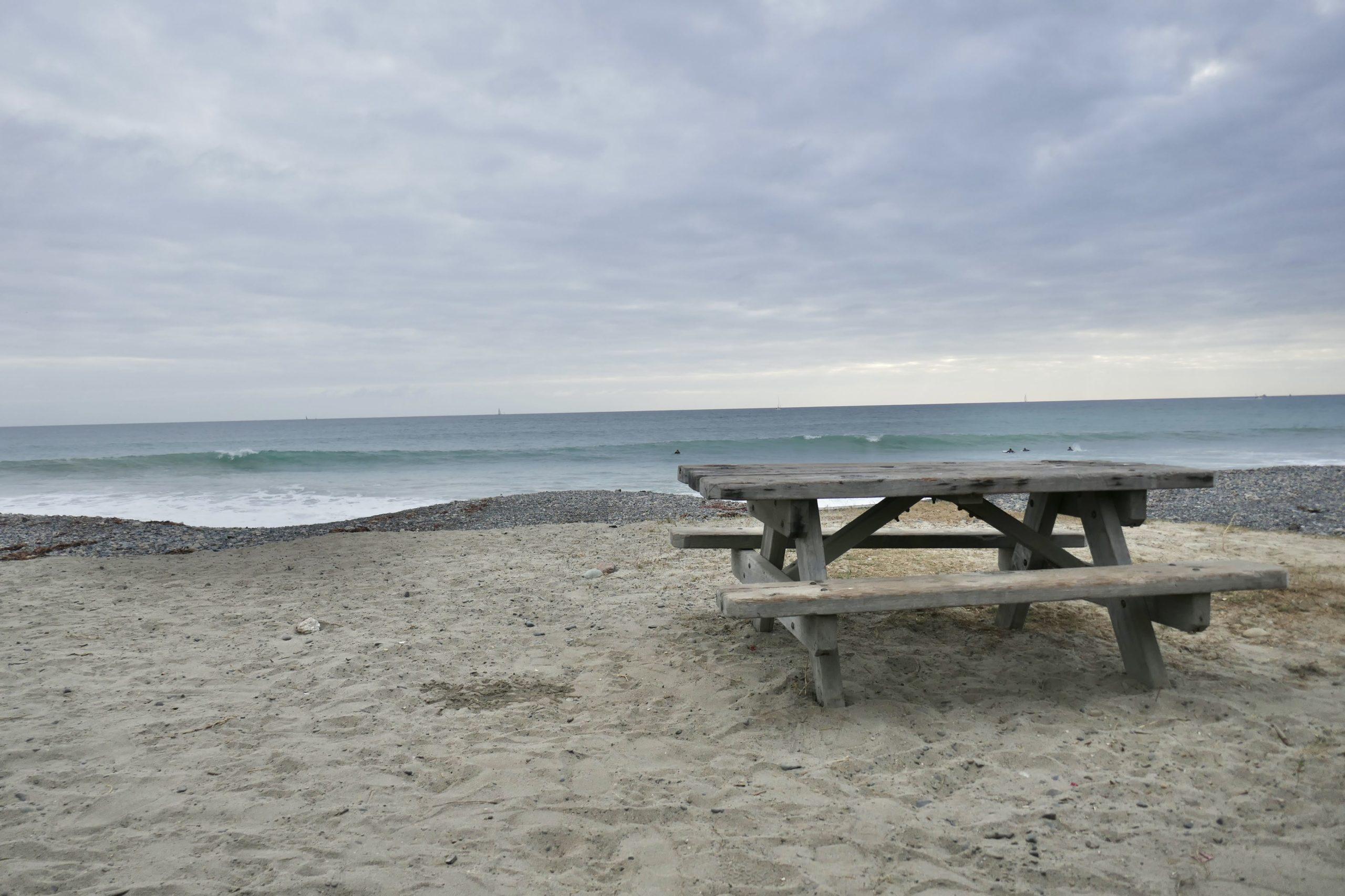 ocean picnic bench