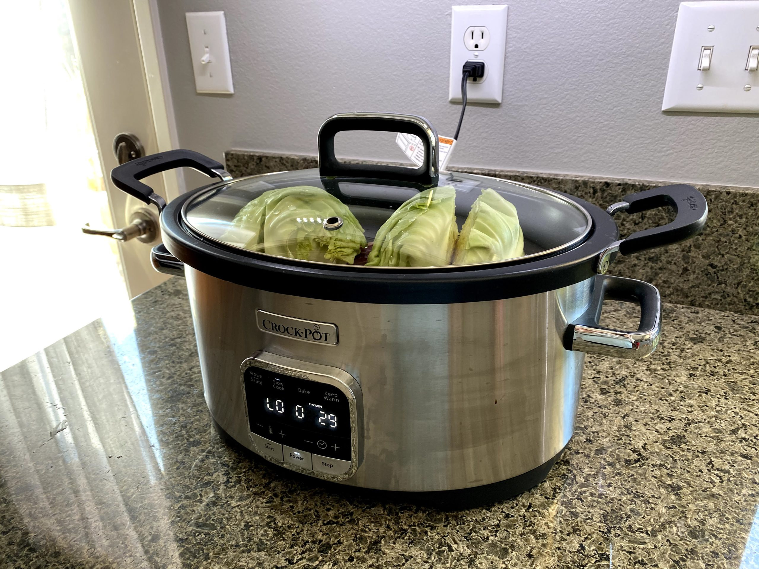 corned beef and veg in crockpot